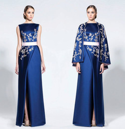 Wholesale Green Gold Capes - Navy Blue Arabic Evening Dresses With Cape Wraps High Split Satin Appliques Prom Dresses Mother Of Bride Dress Formal Party Gowns