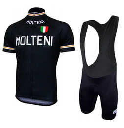 Maillot molteni online-2015 MOLTENI NEGRO M010 SHORT SLEEVE CYCLING JERSEY VERANO CICLISMO WEAR ROPA CICLISMO + BIB SHORTS 3D GEL PAD SET TAMAÑO: XS-4XL