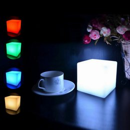 Wholesale Color Changing Mood Led Lights - Wholesale- 1`pc 7 Color LED Colorful Changing Mood Cubes Night Glow Lamp Light Gadget Gizmo Home Decor Romantic Lighting