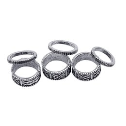 Wholesale Cheap Fashion Jewelry Rings - 2016 Hot Selling Bohemia rings there are 6 rings of a set Silver Plated Carving Flower Ring Cheap Fashion Jewelry zj-0903526