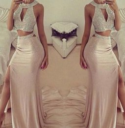 Wholesale High Neck Halter Tops - 2016 Sexy New Two Pieces Prom Dresses Blush Pink Halter Neck Beaded Sequins Top Side Split Evening Dresses Column Mermaid Formal Party Gowns