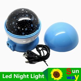 Wholesale Led Novelty Lights Star - Room Novelty Night Light Projector Lamp Rotary Flashing Starry Star Moon Sky Star Projector Kids Children Baby gifts DHL free shipping