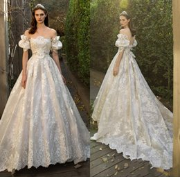 Wholesale Wedding Bridals - Lace Boho Wedding Dresses 2018 Off Shoulder Juliet Short Sleeve a Line Bridals Gowns Sexy Backless Sweep Train Bridal Gowns With Bow