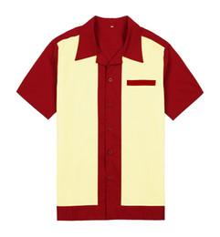 2019 ropa de rock Venta al por mayor-Hombres Button Up Woven Shirts Collar 50's Vintage Rock and Roll Hip Hop 60 Etapa Ropa Chemise Homme Rockabilly Shirt rebajas ropa de rock