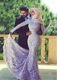 Wholesale Long Floor Length Veil - 2016 Lace Appliques Mermaid Wedding Dresses Elegant Tulle Long Sleeves Beaded Long Bridal Dresses Arabic Islamic Wedding Gowns With Veils