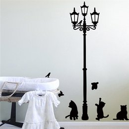 Wholesale Horse Wall Lights - Creative DIY 3D wall sticker horse for kids room Carved Removable home poster stickers Street light black cat carved Decorate 2017 Wholesale