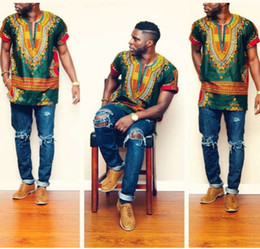 Wholesale Traditional Fashion Clothes - 2017New Hipster Men African Fashion Design Traditional Print Dashiki T Shirt Dress Mexican Bazin Riche Bazin African Clothes Ethnic Clothing