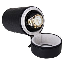 Wholesale Single Watch Display - Wholesale-High Quality Black Automatic Round Single Watch Winder Mute Display Box Gift Free Shipping
