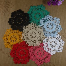 "Wholesale Round Crochet Tablecloth - Wholesale- 4PCS Handmade Crocheted Doilies 8"" 20cm cup Mat Pad tablecloth coasters round Dial Wadding Home Decoration"