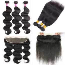 Wholesale Lace Closure Prices - Brazilian Straight Remy Human Hair Bundles with 13x4 Lace Frontal Closure Body Wave Hair Weaves Soft Lace Frontal Closure Wholesale Price