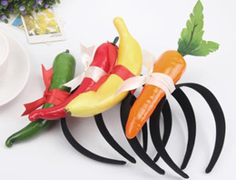 Wholesale pepper fruit - kids funny fruits vegetables headband carrot pepper banana hair sticks children adults birthday headwear cosplay costume performance props