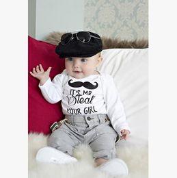 Wholesale Mustache 12 - Beard baby boys Romper 2016 Fall Latter Printed Long Sleeve Cotton Toddler Onesie Cute mustache Infant Jumpsuit Autumn Babies Bodysuits 6583