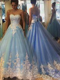 Romántico vestido de fiesta azul Vestido de novia Vestido de novia de encaje atractivo Vestido de novia Vestidos modestos De Novia Gothic 2015-Vestidos de novia desde fabricantes