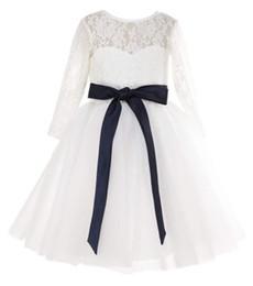 Marfil vestidos de dama de honor niños online-Vestido de niña de flores de manga larga de marfil Niños Niñas Vestidos de dama de honor junior
