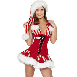 Wholesale Christmas Corset For Women - Christmas Costumes For Adults New Sexy Candy Cane Corset Xmas Costume Christmas Fantasy Outfit Backless Hat Red Party Mini Dresses Costumes
