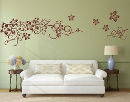 Wholesale Country Decor Wallpaper - Flower Vine Art Wall Decal Removable Wall Sticker Home Decor wallpaper mural