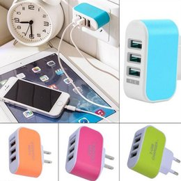 Wholesale Travel Chargers For Sale - Hot Sale 3 USB Wall Chargers US EU Plug 5V 3.1A Travel Power LED Adaptor with 3 USB Ports For Mobile Phone