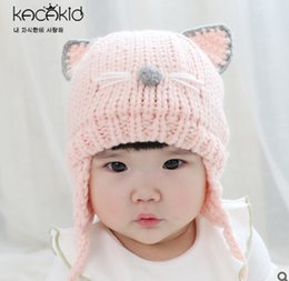 Wholesale Cat Beanie Crochet - Chirstmas hat kids baby photo props girls cute cat ear wool warm hat beanie gorros bebes crochet toddler cap for 0-3 years old girl T0357