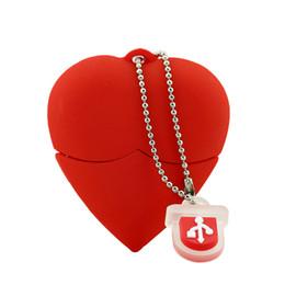 Wholesale Memory Gift Wedding - Novelty Plastic Red Heart Wedding Gift USB Memory Stick Flash Pen Drives 1GB 2GB 4GB 8GB 16GB