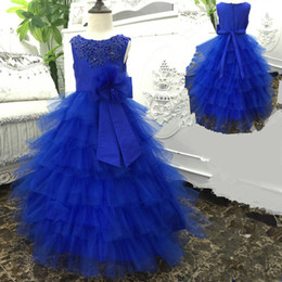 Wholesale Girls Peacock Ball Gown - Stock Hot Sale peacock Pageant Dresses For Girls 2-10 years Fluffy Flower Girl Dress 2016 New kids Evening Gowns