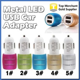 Wholesale Amp Output - Metal Dual USB Port Car Charger Output 1A and 2.1 Amp for Apple iPhone 6 6s iPad iPod Samsung Moto Nokia Htc