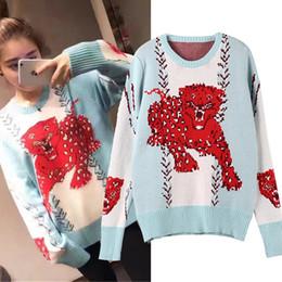 Wholesale Leopard Knit Sweater - 2017 New Autumn Winter Women Knitwear Stylish Retro Blue O-neck Sweater Knit Female Leopard Pattern Women Pullovers Outwear Coat