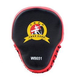 Wholesale Wholesale Karate - PU Leather Boxing Mitt MMA Training Target Focus Punch Pad Karate Muay Thai Taekwondo Sanda Kick Training Glove Pads 2Color