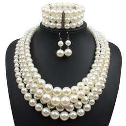 Wholesale Women Bridal Sets - Red Imitation pearls Bridal Jewelry Sets Fashion Wedding Gift Classic Ethnic Luxury Collar Choker Necklace Bracelet Earring Sets for Women