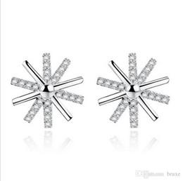 Wholesale wholesale seiko - Female sunlight silver earrings female Korean jewelry descendants of the same paragraph flowers earrings inlaid zircon Seiko