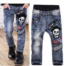 Wholesale Boys Clothes Size Jeans - 2016 Spring Children Jeans Boys Skull Embroidery Jeans Long Pants Kids Clothes Size 110-150 Free Shipping