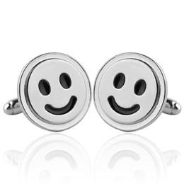 Wholesale Smile Cufflinks - Emoji smile face Cufflink Cuff Links sleeve nail for women men shirts dress suits alloy Cufflinks Christmas gift 170625