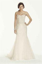 Wholesale Lace Boned Corset Wedding Dress - Spaghetti Strap Trumpet Wedding Gown with Exposed Boning Corset Bodice SWG690 Lace Applique Bridal Dress vestido de novia