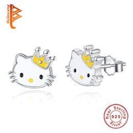 Wholesale Hello Kitties - BELAWANG Luxury 925 Sterling Silver Yellow Enamel Hello Kitty Push-back Stud Earrings for Women & Girls Christmas Gift Jewelry