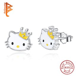 Wholesale Girl Kitty - BELAWANG Luxury 925 Sterling Silver Yellow Enamel Hello Kitty Push-back Stud Earrings for Women & Girls Christmas Gift Jewelry