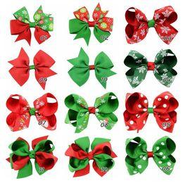 Wholesale Halloween Grosgrain Ribbon Wholesale - Baby Girls Boutique Grosgrain Ribbon Colorful Hair Bow Clip Christmas Halloween Gift Snowflake Bow Hair Clip