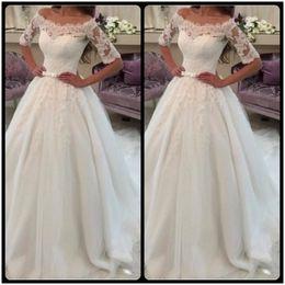 Wholesale Wedding Gowns Tails - Vintage Half Sleeve Lace Wedding Dresses Scoop Court Tail Long Bride Bridal Gowns vestido de casamento trouwjurk