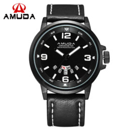 Wholesale Top Cheap Watch Brands - 2016 Men Sports Watches Top Brand AMUDA Luxury Analog Display Quartz-Watch Military Wristwatches Relogio Masculino Cheap wristwatch light