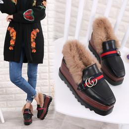 Wholesale Womens Shoes Platform Wedges - Womens Black Platform Fur Flat Shoes Leather Slip Slop Style Loafers Winter Metal Decor Luxury New Casual Pumps Wedge High Heel Pumps Warm