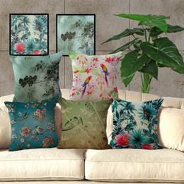 Wholesale Oriental Cover - Watercolor Paintings Birds Flowers Sakura Oriental Cherry Tree Pattern Linen Cotton Pillowcase Cushion Cover Sofa Pillow Covers 240487