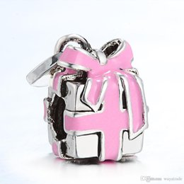 Wholesale Pink Ribbon Hearts - New73 New! 925 Sterling Silver Pink Ribbon Present Floating European Charm Beads Charms Fits DIY Bracelet Bangles