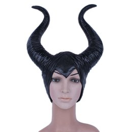 Wholesale Masquerade Masks Horns - Halloween Movie Maleficent Horns Headpiece Mask Women's Angelina Maleficent Latex Mask Masquerade Party Cosplay Costume Props