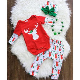 Wholesale Reindeer Stocking - Christmas Baby Outfits Infants Autumn winter Reindeer Red Romper + Pant with Bow Hat 3pcs set 100%cotton 2017 New In stock