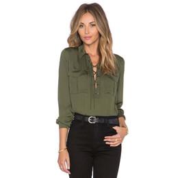 Canada Lacets avant dames chemises manches longues bureau formelle hauts armée chemises vertes printemps nouveau design cheap green lace tops designs Offre