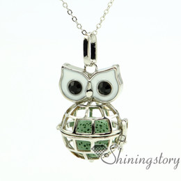Wholesale Owl Metals - owl essential oil necklace wholesale diffuser necklace aromatherapy diffuser necklace aromatherapy necklace wholesale metal volcanic stone