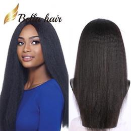 peruca do cabelo humano da parte média do yaki Desconto Cabelo Humano indiano Yaki Rendas Rendas Perucas Fabuloso 100% Perucas de Cabelo Humano Parte Do Meio Perucas de Renda Bella cabelo