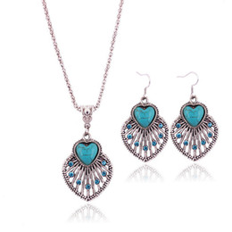 Wholesale Turquoise Leaf Necklace - Retro Bohemian Hollow Turquoise Necklace Earrings Set Cute Leaf Pendant Jewelry Sets for Women Jewelry Accessories