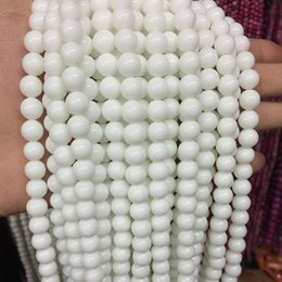 Wholesale Tridacna Jewelry - Wholesale-Fashion white tridacna jasper 8mm charms porcelain round jade loose beads diy jewelry making 15 inches GS384