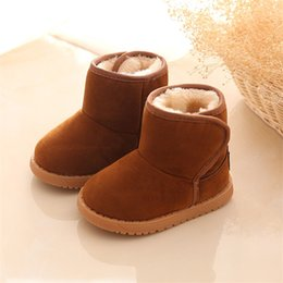 Wholesale Ankle Boots Comfortable - Girls Boys Snow boots Winter Children Cotton shoes Comfortable warm Ankle boots Cow Muscle Baby shoes Kids boots Black Brown 2 5