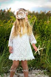 Wholesale Green Garden Design - Modest Lace Flower Girls Dresses Long Sleeves Short Garden Country Wedding Party Gowns Knee Length Junior Bridesmaid Formal Wear New Design
