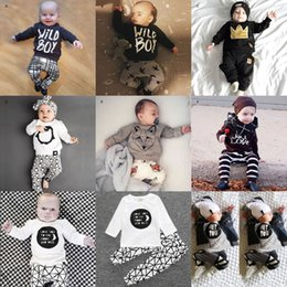 Wholesale Leopard Pants For Babies - 2016 New Christmas 1st Birthday Outfits For Baby Boy Girl Set Clothing Fox Penguin T Shirt Top+Harem Pant 2PC Suit Boutique Clothes 0-2T